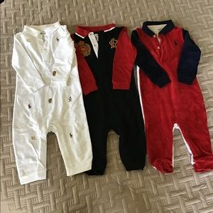RALFH LAUREN BUNDLE OF THREE LONG SLEEVE ROMPERS